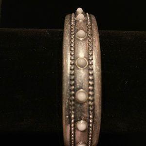 Chicos silver tone- stone accent cuff bracelet NWT